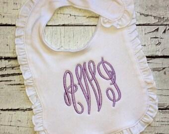Monogrammed bib, burp cloth or onesie. Monogrammed baby. Baby shower gift. New baby gift.