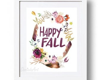 Happy Fall Printable Wall Art Fall print Autumn wall decor Floral Fall decor Watercolor fall wreath Autumn Feather 5x7 8x10 11x14 16x20