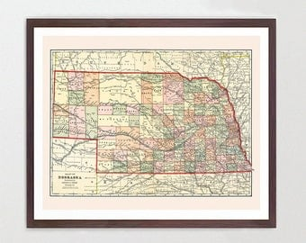 Nebraska Map Etsy - State map of nebraska