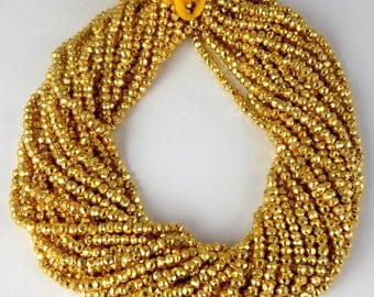 """Gold Pyrite Gemstone Faceted Rondelle Beads 3.5-4mm Bead 13"""" Long"""