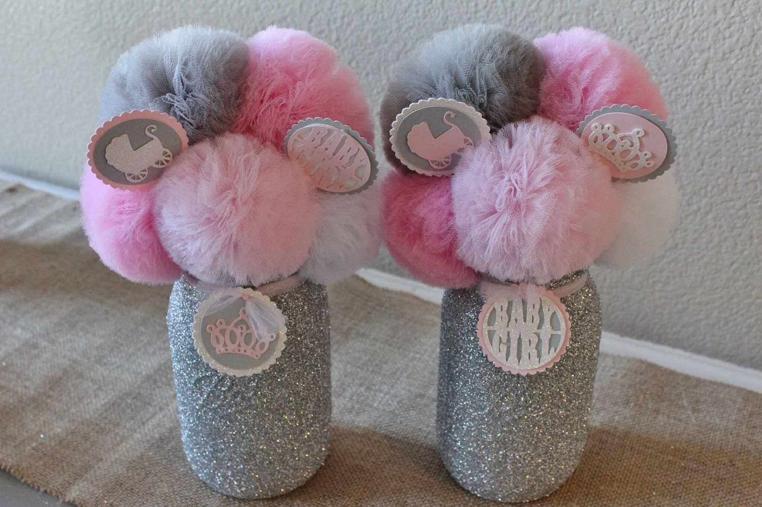 Pink gray baby shower decorations