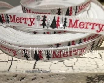 """3/8"""" Christmas Merry Trees Metallic Snowflake White Grosgrain Ribbon"""