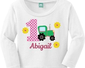 Girlie Tractor Birthday, John Deere Birthday Shirt / Onesie / Bib / Digital PDF
