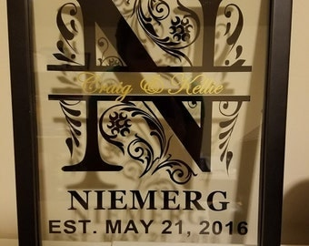 Personalized Family Name Black Frame 11''x14""