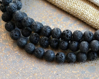 Lava Beads,Black Lava Beads, 8mm Beads,1mm hole,Porous, Black Beads,Beading Supplies,Lava Beads,Organic, Bohemian,Tribal, Ethnic, One Strand
