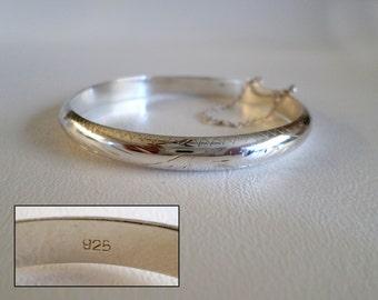 "7 1/4"" 18 cm Sterling Silver Hinged Bangle Bracelet, 1/4 inch 7mm Wide, Southwestern Country Western Wear, Cowgirl Boho Gear, ID 267180549"