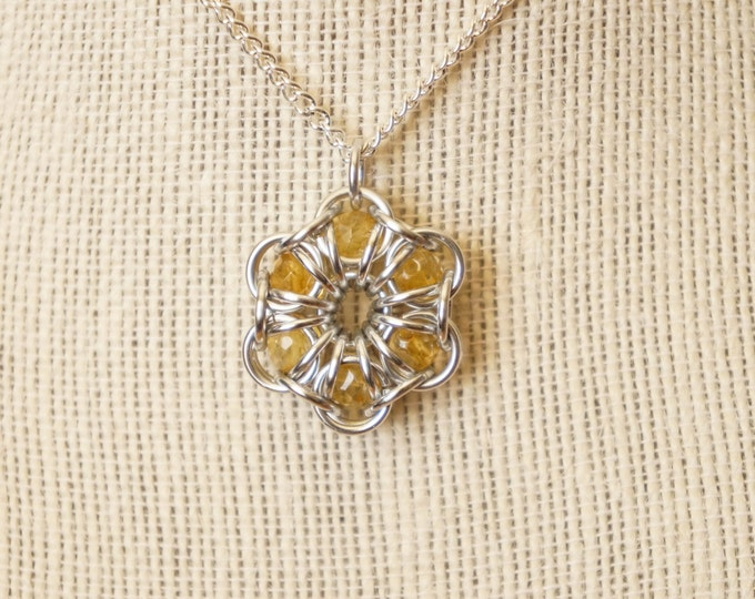 Featured listing image: Citrine Maille Flower Pendant