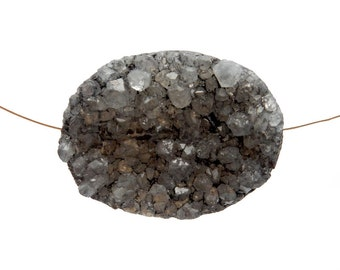 Druzy Bead Large Gray Oval Shaped Top To Bottom Drilled Bead - (RK63B14-07)
