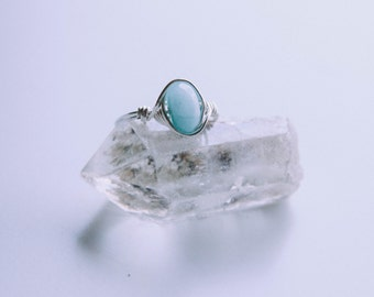 Aquamarine Wire Wrapped Ring