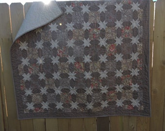 """Generous Lap Sized Quilt in Tan and ??    with Lots and Lots of Little Stars    55"""" x 55"""""""