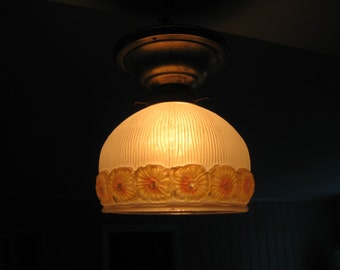 """Circa """"1920's"""" Hand Painted Yellow Floral Embossed glass Ceiling Light Fixture..."""