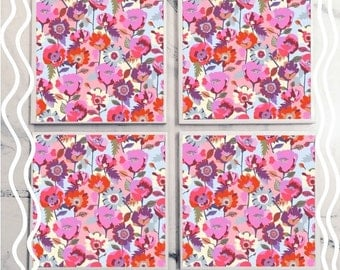 Abstract Floral Tile Coasters