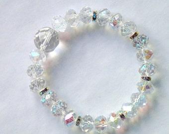 Crystal clear bracelet, crystal AB beads, crystal elegant beaded stretch bracelet, rhinestones, elastic bracelet