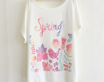 Colourful spring screen print tee