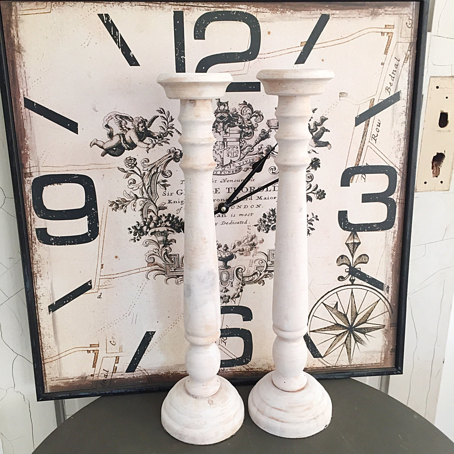 French Candle Holders Tall White Wash Wood Mantle Candle