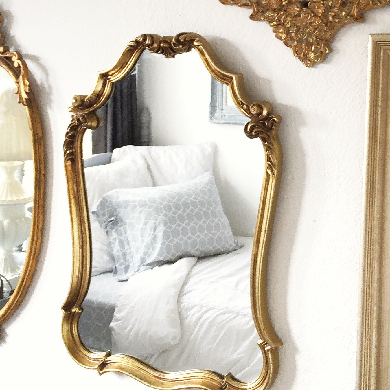 Large ornate mirror gold mirrors hollywood regency baroque for Baroque mirror