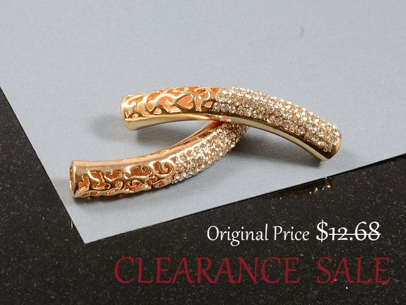 SALE - Tube Beads with Clear Rhinestone in Rose Gold Plating, Large Hole (4.5mm)   - 2 pcs/ order