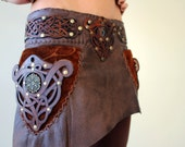Handmade Leather Skirt with Celtic Knot Patterned Belt and Pockets.