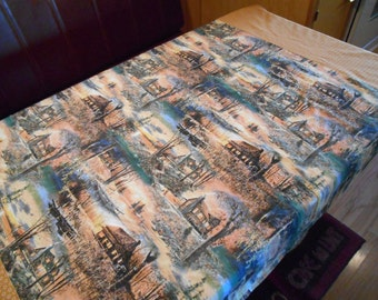 Vintage Trailer Dinette Tablecloth with Lake Cabin Print