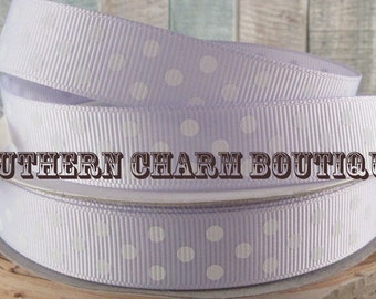 "3 yards 5/8"" lavender/white grosgrain ribbon"