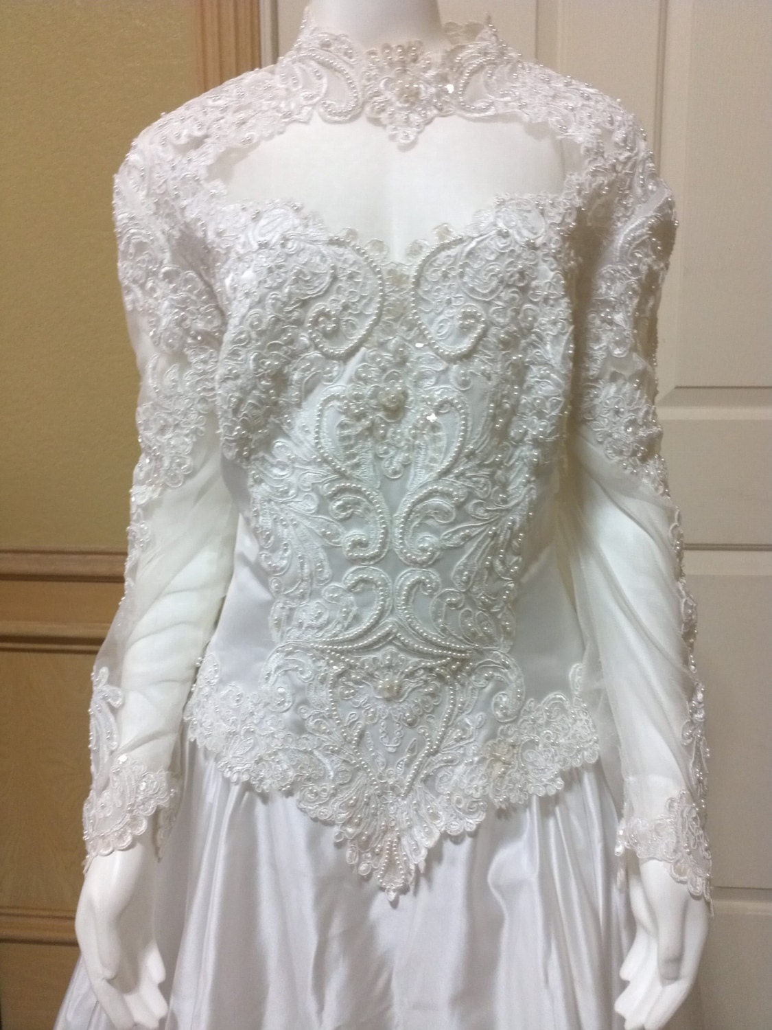 Vintage Embroidered white satin wedding gown satin and lace