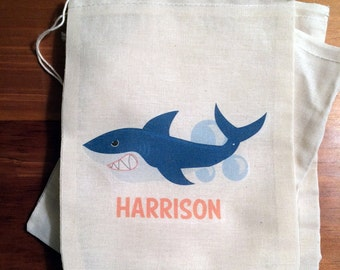 6 Shark Personalized Gift Party Favor Bags. Set of 6 - 4x6 5x7 6x8 7x9 7x11 Drawstring Birthday Gift Basket Bags