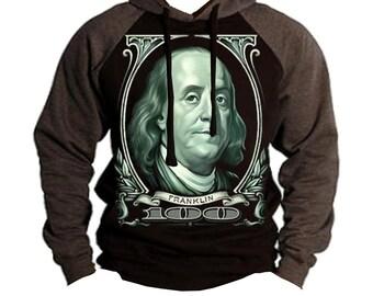 Ben Franklin 100Dollar Bill  Men's Hoodie Charcoal/black  All size S-2XL