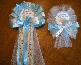 Blue Mommy and daddyTo Be Baby shower corsage Elephant Jungle corsage