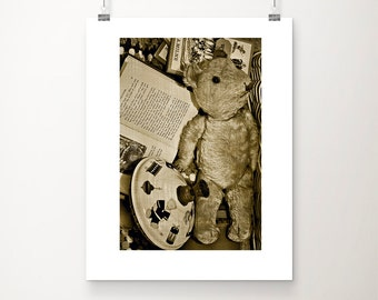 Still life photography, vintage toys photo, nostaligic, nursery art, nursery wall art, sepia, monochromatic,  fine art print - Mum's teddy