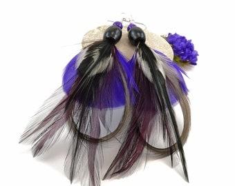 Purple feather earrings - Purple and black earrings - Purple feather jewelry - Cruelty free feather earrings