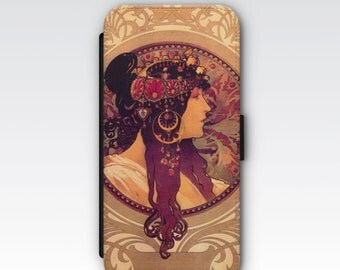 Wallet Case for iPhone 8 Plus, iPhone 8, iPhone 7 Plus, iPhone 7, iPhone 6, iPhone 6s, iPhone 5/5s - Byzantine Head Brunette Alphonse Mucha