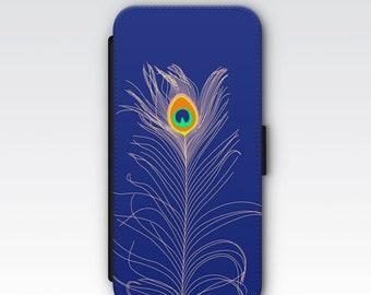 Wallet Case for iPhone 8 Plus, iPhone 8, iPhone 7 Plus, iPhone 7, iPhone 6, iPhone 6s, iPhone 5/5s - Peacock Feather Phone Case