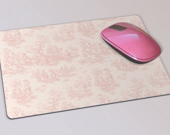 Fabric Mousepad, Mousemat, 5mm Black Rubber Base, 19 x 23 cm - Vintage French Pink and Cream Toile Patterned Mousepad Mousemat