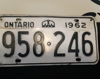 1962 Ontario License Plate. 958 246 RAT ROD. Bar Decor. Garage Decor. Man Cave