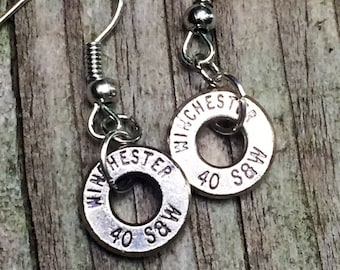 Bullet jewelry, dangle bullet earrings, 40 caliber brass bullet casing dangle earrings, redneck jewelry, bullet earrings