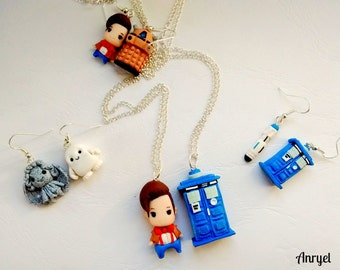 Doctor Who FAN ART Tardis Necklace and Earrings - the Doctor Allons-y Geronimo Papillon Sonic Screwdriver Dalek Exterminate
