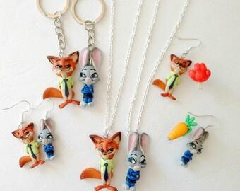 Nick and Judy Zootropolis Zootopia carrot pen Rabbit and Fox Earrings Necklace Collana Keychain Portachiavi - handmade