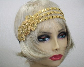 Great Gatsby headpiece, Flapper headband, 1920s headband, Roaring 20s, Gold sequin headband, 1920s hair accessory, Vintage inspired