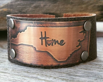 Leather Cuff Bracelet with Copper Etched State Design- Choose your State Custom Handmade Cuff