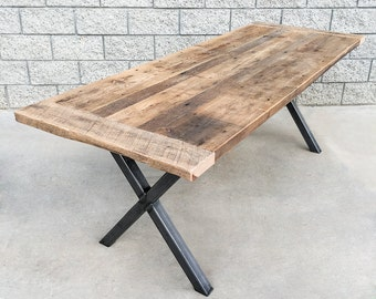 Industrial Style Reclaimed Wood and Steel Dining Table/Desk