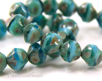 Czech Glass 8mm. ~~~Central Cut Baroque Beads~ Turquoise, Transparent Blue and Emerald w/Picasso Finish~ 15 Pieces