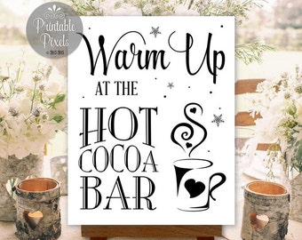 Hot Cocoa Bar Sign Printable Wedding Hot Chocolate Bar Digital Instant Download (#COCO1B)