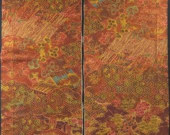 """2pcs(6.8""""w. x 14.5""""l.) Vintage kimono silk fabric-house & garden 2794I"""