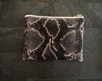 Faux snakeskin zipper pouch, mini bag, mini makeup bag, zipper bag, coin purse, de almeida designs