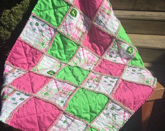 Baby Rag Quilt, In a John Deere Design, with Hot Pink and Lime Green. Handmade Quilt! John Deere Nursery for girls!