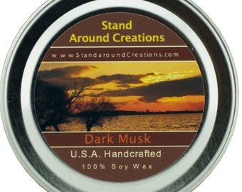 Premium 100% Soy Candle - 2oz Tin - Scent: Dark Musk