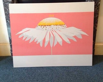 FRAMED 1960's Vintage, Rare, Screen Printed Giant Daisy Wall Art (1.6m x 1.2m)