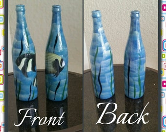 Hand Painted Wine Bottle with Fish and Sea weed,  beautiful one of kind hand painted bottles in coastal nautical theme