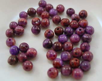 Purple Crazy Lace Agate Smooth Round 4 mm - 10 beads #5214
