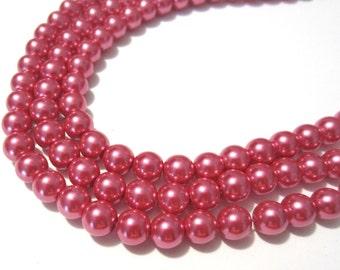 1 strand Medium Red Glass Pearl Beads 8mm Round (No.B17)
